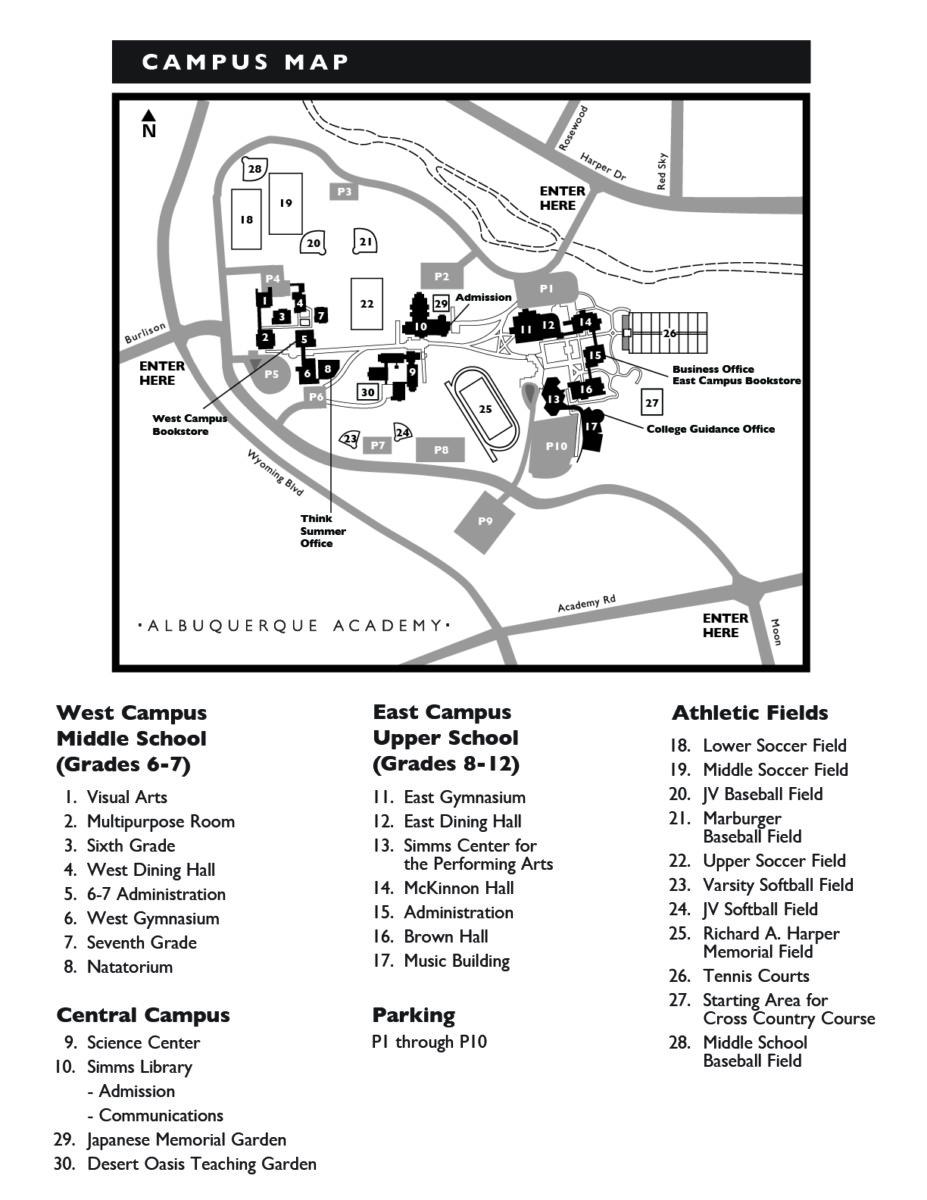 Albuquerque Academy Campus Map.Map